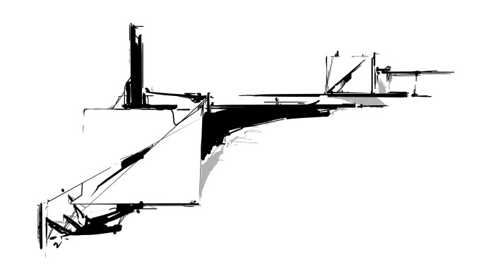 Pen and ink drawing cantilever