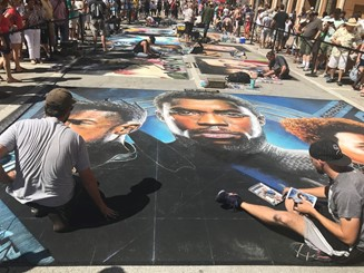 Pavement art - Black Panther - Chad Boseman