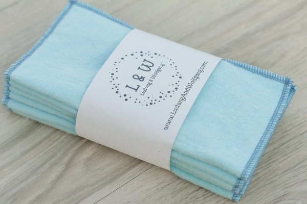Bundle of Wipes (6 Light Blue, 2-Ply Flannel) 3