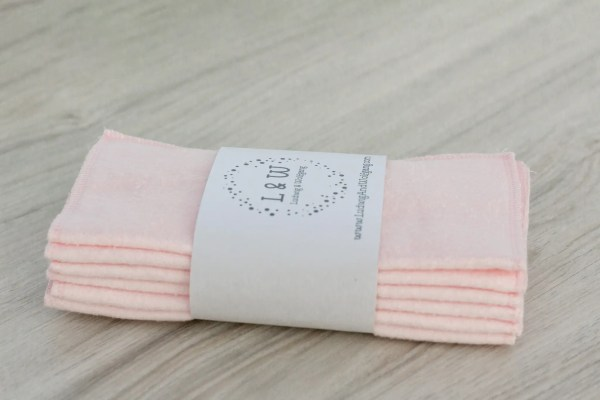 Bundle of Wipes (6 Pink, 2-Ply Flannel) 2