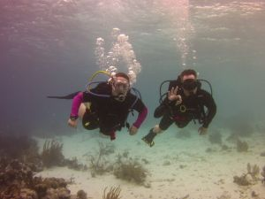 Mike and Me scuba diving in Bonaire. Photo courtesy of Paige Purdy, Heartland Scuba Center.