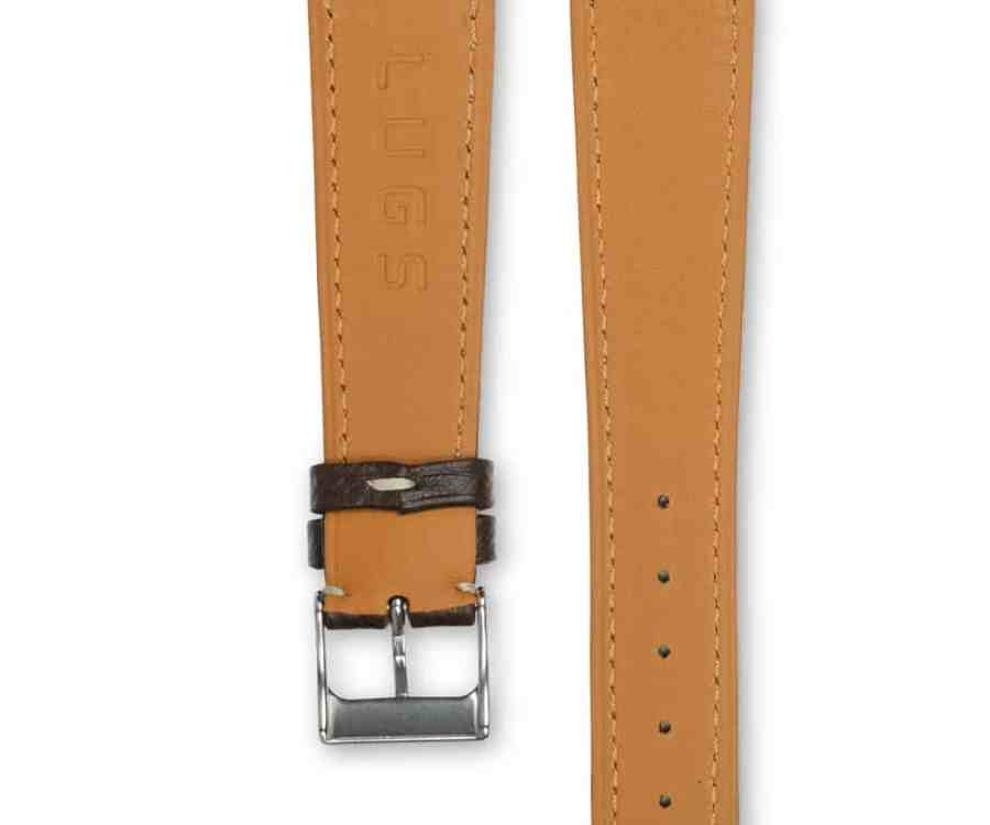 Grained Chocolate brown leather watch strap - cream stitching - LUGS brand