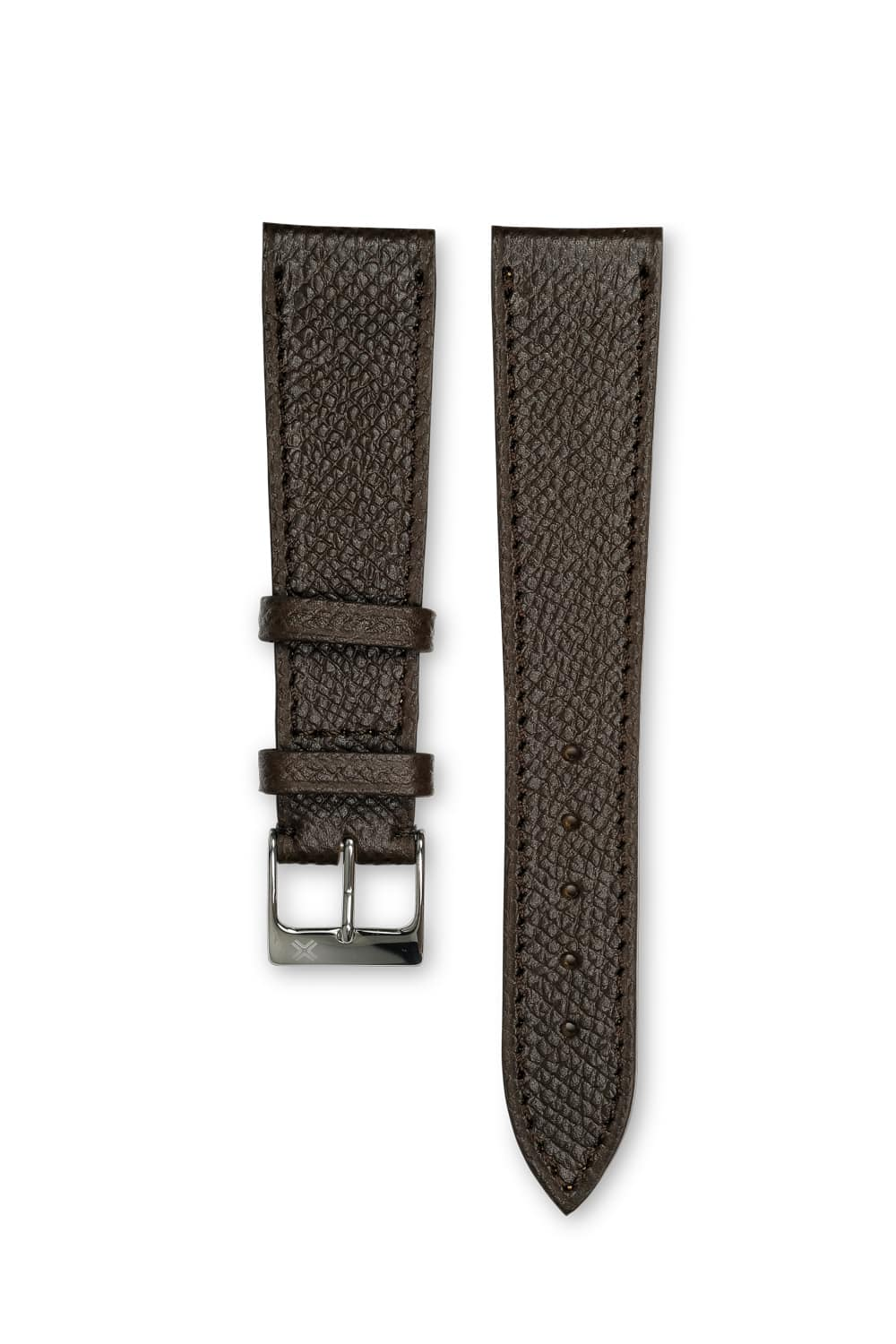 Grained chocolate brown leather watch strap - tone on tone stitching - LUGS brand
