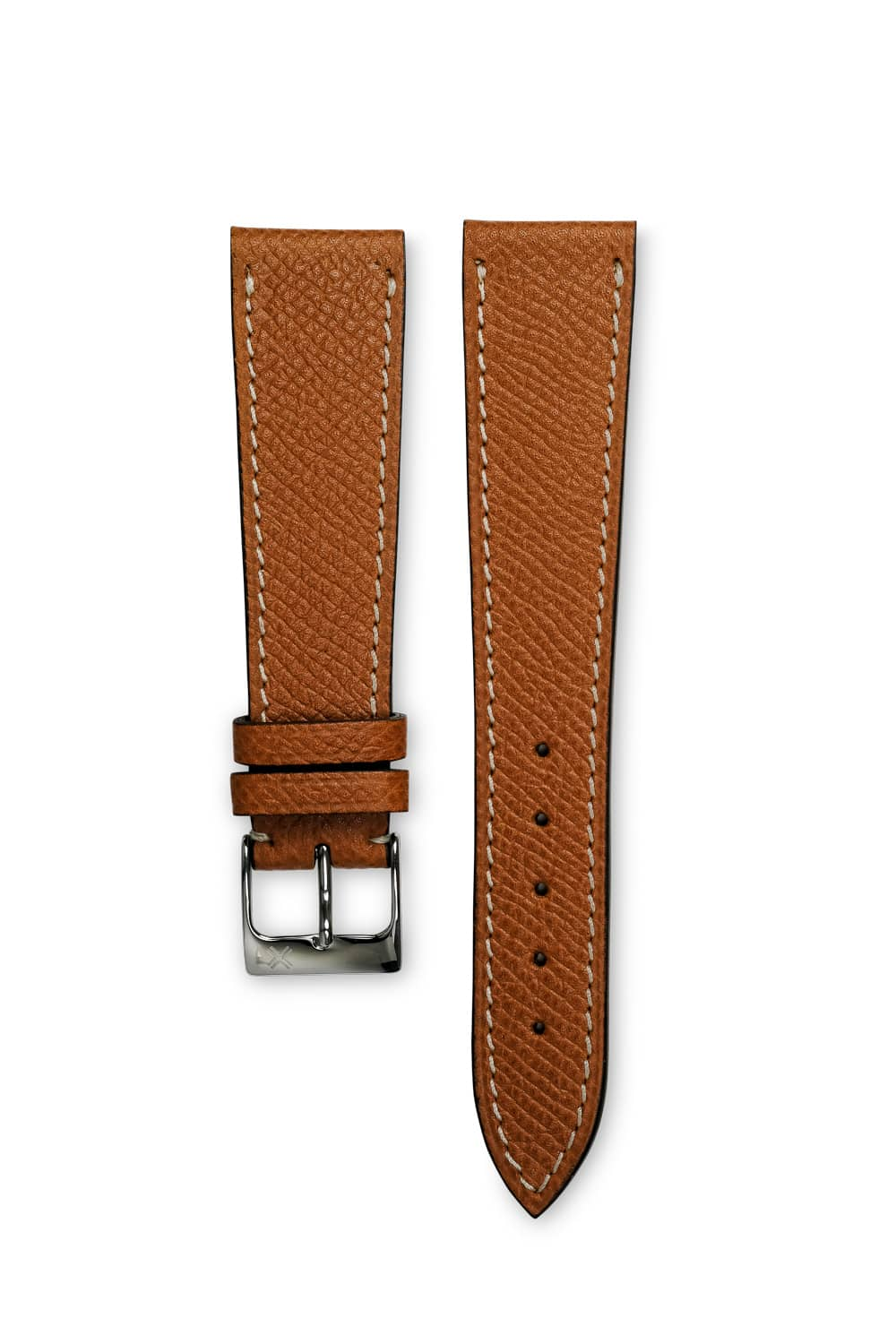 108b3a1d6 Grained light brown tan leather watch strap - cream stitching - LUGS brand