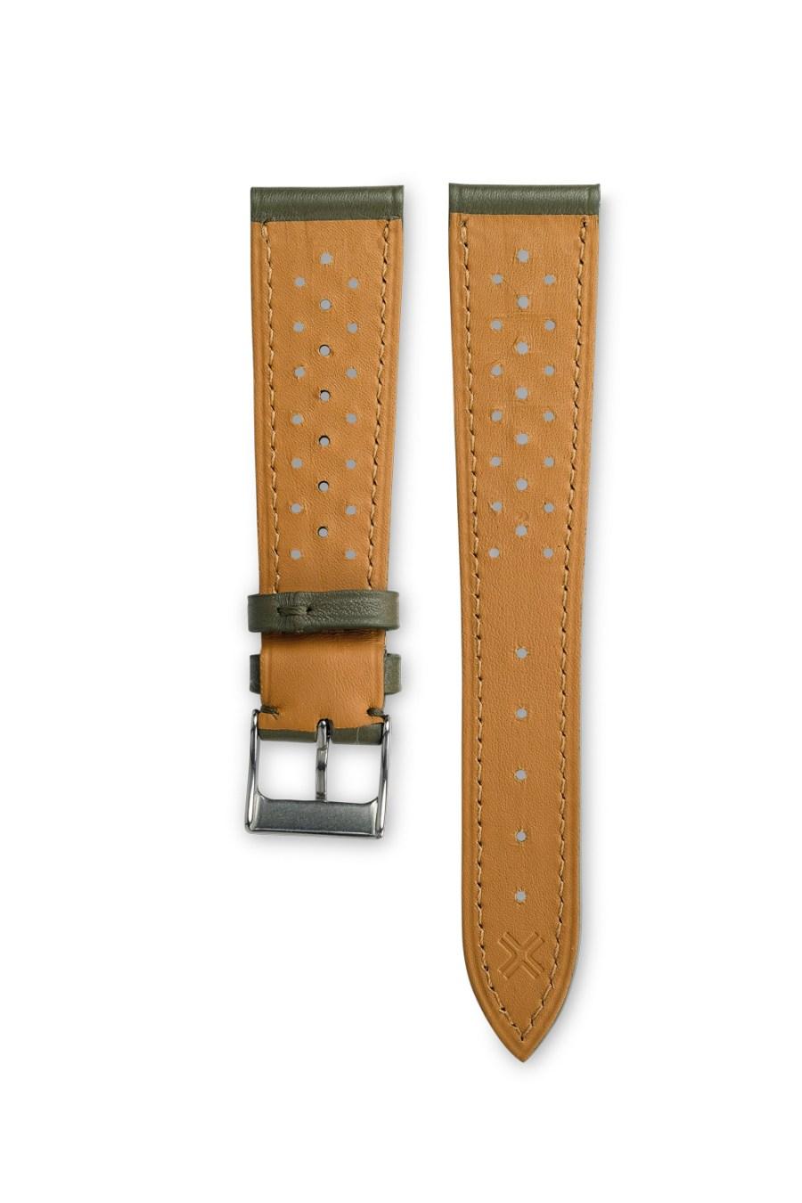 Smooth Racing khaki green leather watch strap - tone on tone stitching - LUGS brand