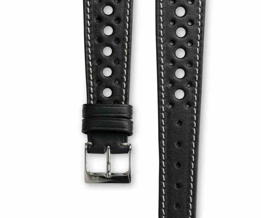 Smooth Rally Deep Black leather watch strap - cream stitching - LUGS brand