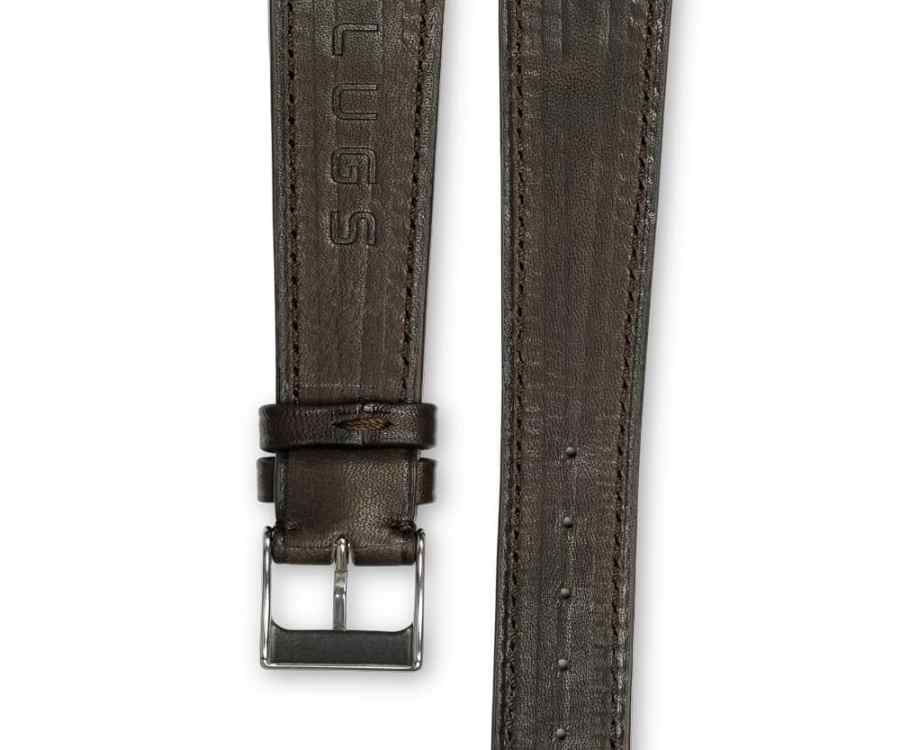 Smooth Classic chocolate brown leather watch strap - tone on tone stitching - LUGS brand