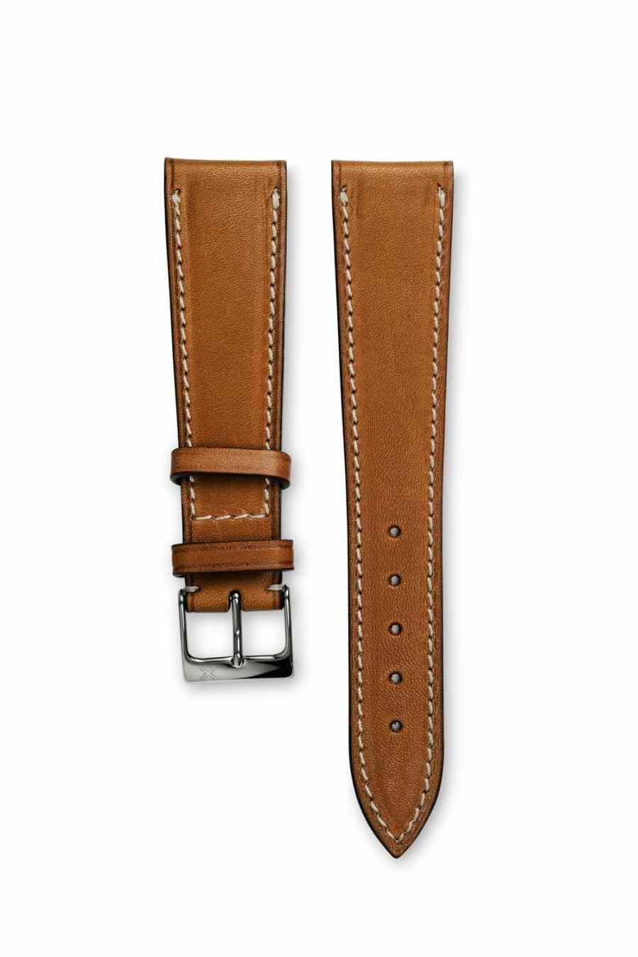 Smooth Classic Barenia light brown tan leather watch strap - cream stitching - LUGS brand