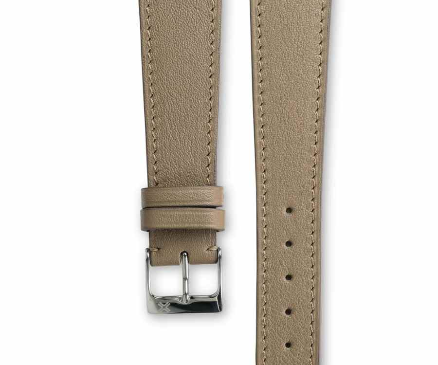 Smooth Classic taupe beige leather watch strap - tone on tone stitching - LUGS brand