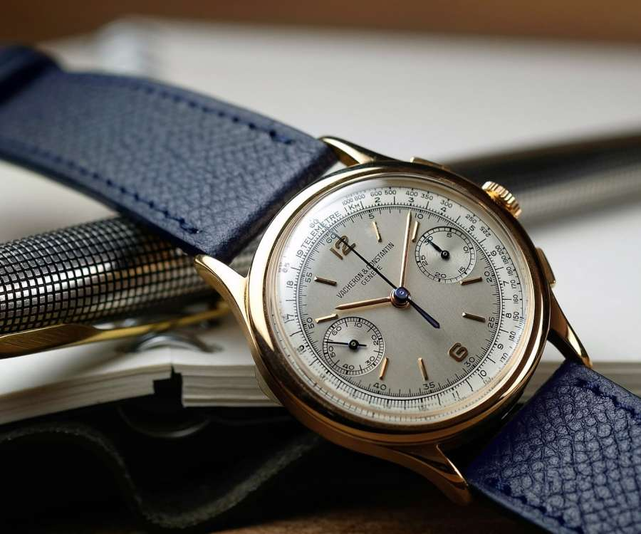 Vacheron Constantin gold vintage chronograph with a blue grained LUGS watch strap