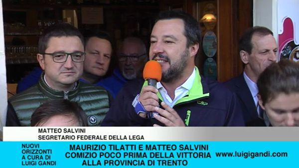 Maurizio Tilatti con Matteo Salvini per la vittoria delle provinciali di Trento
