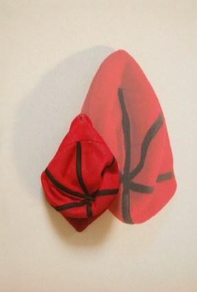arch.n. 883 berr rosso berretto resinato + riproduzione fotografica su tela applicata a tavola cm 75 x 51 – anno 2009