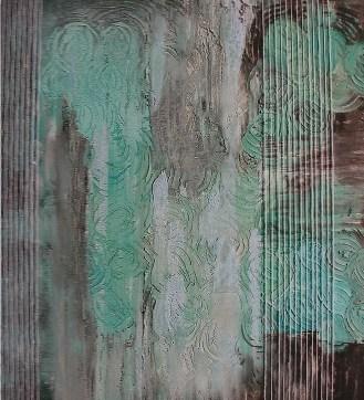 arch.n. 653 Contaminazione 136 Affresco su tavola + fili in cotone – cm 100x110, anno 2003