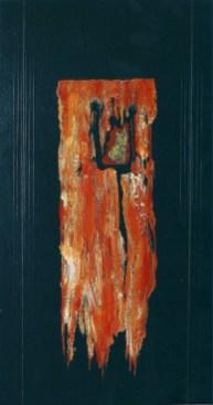 arch.n. 699 Brandelli 33 Affresco su tavola + fili nylon, cm 42x85 - anno 2004