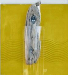 arch.n. 543 Rinascita 40 Legno scolpito e dipinto, tavola affrescata, plexiglass, cm 42x40 - anno 2003