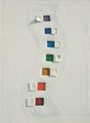 arch.n. 792 Colori in direzione Affresco su tela + mosaico a perline su seconda tela - cm 52x74 - anno 2005