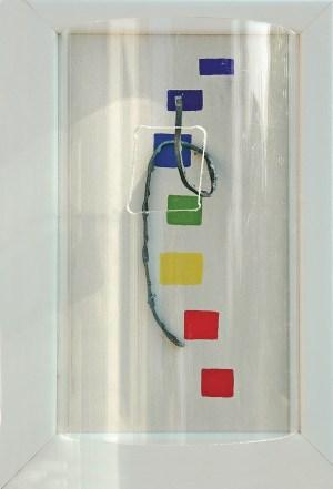 arch.n. 782 Colori 7 Legno, acrilico, ferro, plexiglass, cm 22x33 - anno 2005