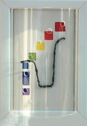arch.n. 785 Colori 9 Legno, acrilico, ferro, plexiglass, cm 22x30 - anno 2005