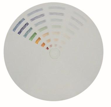 arch.n. 806 Colori in movimento carta compressa + mosaico di perline + pittura acrilica+ basamento portante in ferro laccato bianco - diam cm 98 – anno 2004