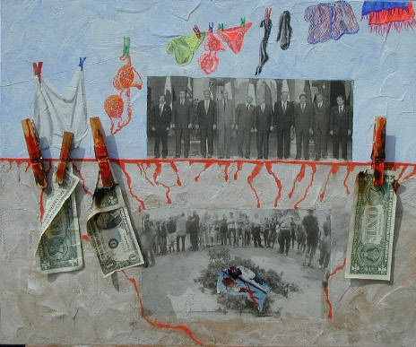 arch.n. 373 I due mondi Affresco ad encausto su tavola + collage foto dollari - cm 60x50 - anno 2001