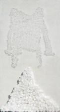 Metamateria3 arch. n. 1044 tavola + fiori in nylon + incisione su plexiglass – 2011– cm 83 x 152