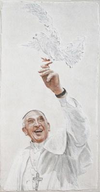arch.n. 1.098 Papa Francesco con colomba affresco su avola, cm 100x50x3, anno 2013