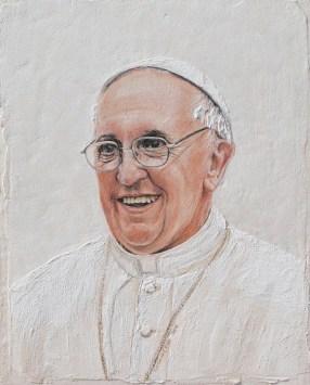 arch.n. 1.099 Papa Francesco tra la gente affresco su tavola, cm 40x50x2, anno 2013