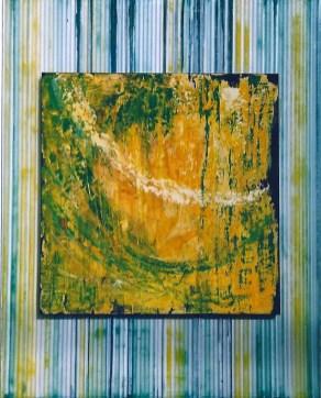 arch.n. 500 Vita 1-2-3-4 Affresco ad encausto su tavola applicata su policarbonato colorato a polveri cm 83x103, anno 2002