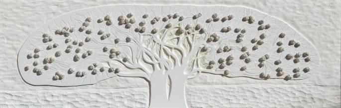 Albero del Giardino dai buoni frutti – PVC scolpito + tessuti compattati con filo ferro zincato e resina, cm 51x156, anno 2016
