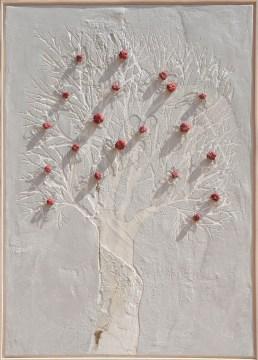 Ach. n. 1460 Albero del Giardino dai buoni frutti – affresco + tessuti compattati, cm 103x73, anno 2017