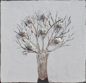Ach. n. 1470 Albero del Giardino dai buoni frutti – affresco su tavola + tessuti compattati – cm 41x42, 2017