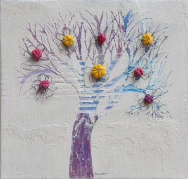 Ach.n.1461 Albero del Giardino dai buoni frutti – affresco + tessuti compattati – cm 42x44, anno 2017