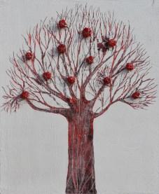 Ach. n. 1473 Albero del Giardino dai buoni frutti – affresco su tavola + tessuti compattati – cm 59x48, 2017