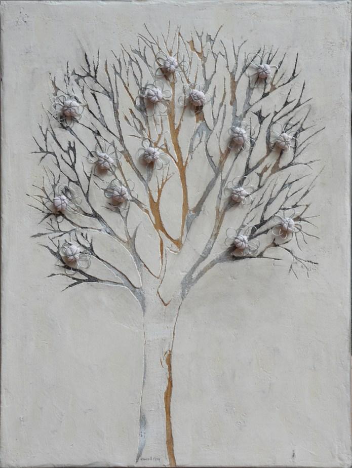 Ach. n. 1465 Albero del Giardino dai buoni frutti – affresco + tessuti compattati – cm 80x60, anno 2017