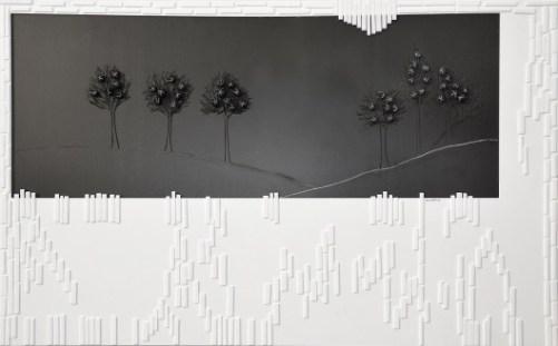 arch. n. 1.154 Notte con luna cm 98 x 154 – collage di PVC, incisione, plexiglas, tessuto, ferro , anno 2014