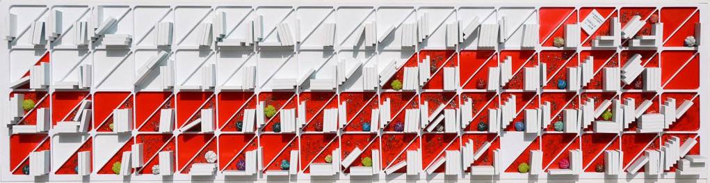 Arch.1.363 la Biblioteca Dell'Eden – collage di PVC, foglia oro, vernice rossa, tessuti compattati con filo di ferro zincato e resina - cm 52x203 anno 2016