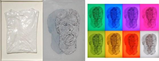 arch.n. 917 DUALITà 2 - M&P 2 vestito resinato su ferro + Plexiglas dipinto + Led a RGB, cm 66x48, 2011