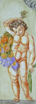 arch.n. 32 festone con frutta e putto affresco su tela, cm 45x150 – anno 2000