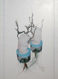 arch.n. 715 interazione rielaborazione digitale + pittura ad olio su tela, cm 87x120, anno 2004