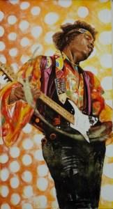 arch.n. 242 Jimmi Hendrix affresco su tela, cm 80x150 – anno 2007