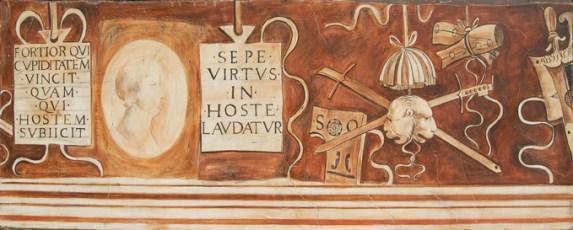 arch.n. 1.303 Fregio Casa Gorgione Affresco su tela applicata a tavola, cm 70x180 anno 2010