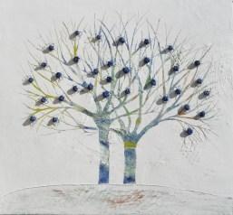 Ach. n. 1.495 Albero del Giardino dai buoni frutti – affresco su tavola + tessuti compattati – cm 101.5x110, 2017