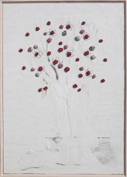 Arch. n. 1.537 Albero dai buoni frutti tecnica mista su tavola+ tessuti compattati e resinati, cm 103x73, 2018
