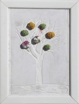 Arch. n. 1.543 cm 30x22 Albero dai buoni frutti- affresco su tavola+ tessuti compattati e resinati, 2018