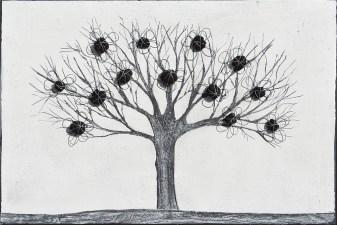 Ach. n. 1.493 Albero del Giardino dai buoni frutti – affresco su tavola + tessuti compattati – cm 41x61, 2017