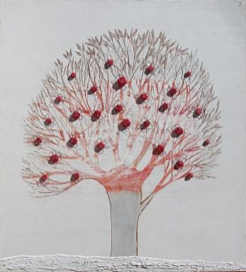 Ach. n. 1476 Albero del Giardino dai buoni frutti – affresco su tavola + tessuti compattati – cm 110x100, 2017