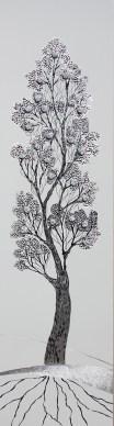 Arch. n. 1.686 La foresta nel mare, incisione su dibond + vestiti usati compattati con filo ferro zincato e resina, cm 147x38, 2019