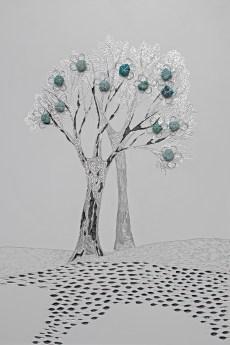 Arch. n. 1.675 La foresta nel mare, incisione su dibond + vestiti usati compattati con filo ferro zincato e resina, cm 60x40, 2019