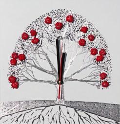 """Il Tempo – i buoni frutti: Archivio n. 1812- cm 29x28 - 2019- incisione su alluminio + """"frutti"""" creati con vestiti usati compattati con filo di acciaio inox e resina. Avvitati dal retro + meccanismo orologio. L'opera è archiviata ed è completa di attaccaglia. € 80"""
