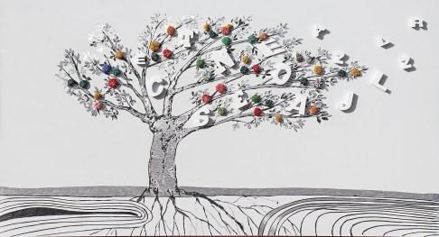 """La foresta nel mare: Archivio n. 1787 cm 50x93 - 2019- incisione su alluminio + lettere sagomate a laser + """"frutti"""" creati con vestiti usati compattati con filo di acciaio inox e resina e avvitati dal retro."""